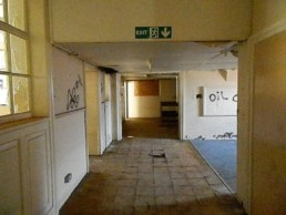Shipton Street School dilapidation Photo of central portion of main building